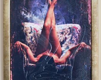 Girl on sofa - hand textured photography