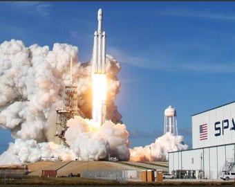 "Spacex Falcon Heavy - Launch - Elon Musk  24"" x 36"" - 16"" x 24"" - 12"" x 18""  Modern Poster"