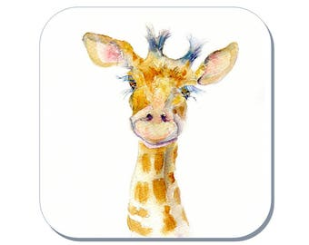 Bobo the baby Giraffe - Giraffe Coaster (Corked Back). From an original Sheila Gill Watercolour Painting
