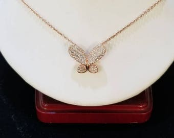 Sterling silver and cz butterfly necklace