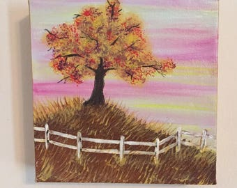 6x6 fall tree with fence