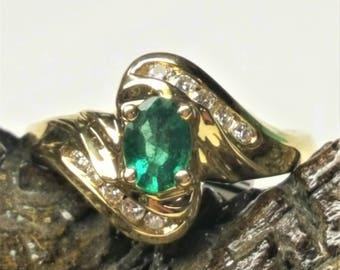 14 Karat Yellow Gold Emerald & Diamond Ring