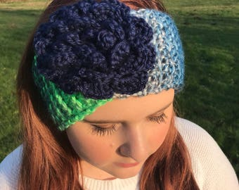 Seahawks Team Colors Flower Headband