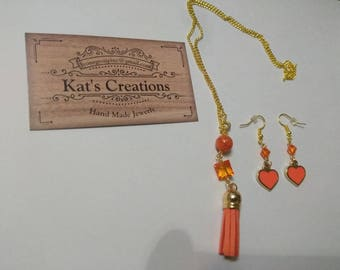 Orange fringe necklace and earring set
