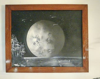 Space painting Oak frame