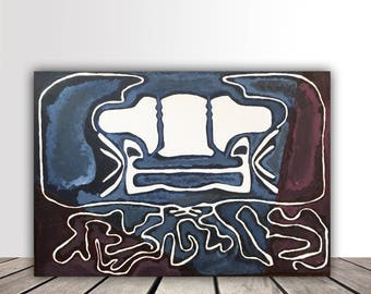 Angels or demons labyrinth acrylic expressionist art painting figure abstract on canvas. Symmetric,blue and red. 38cmx55cm