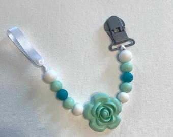 Blue Rose Pacifier Clip
