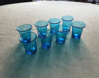 Late 19th century aqua blue glass stemware