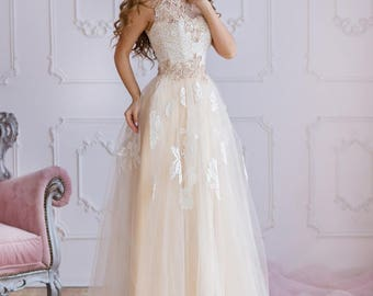 """Evening Dress, Prom Dress, Wedding Dress  """"OLIMPIA"""" with Hand Embroidery"""