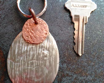 Vintage silver key-chain w/distressed copper penny