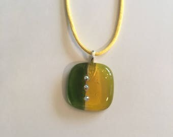 Yellow and green fused glass necklace