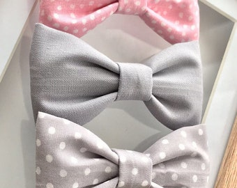 Pink & Grey Cotton Mix Midi Butterfly Bows