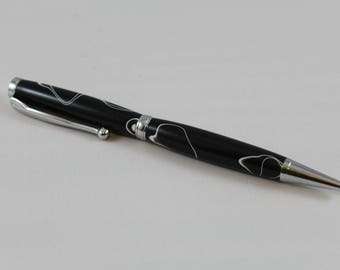 Black with white swirl acrylic body pen