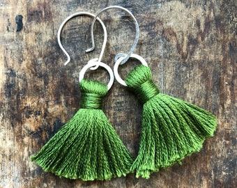TASSEL Earrings | Avocado Green | Sterling Silver