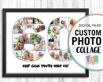 60th Birthday Collage, 60th Anniversary Photo Collage, 60 Photo Collage, Sixty Birthday Gift, 60th Anniversary Gift, 60th Birthday Gift Pdf