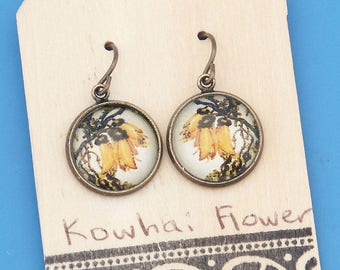 New Zealand Kowhai flowers, vintage art print, Earrings, glass dome art, niobium hypo-allergenic