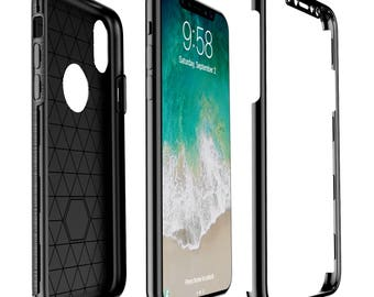 iPhone X Phone Case and Tempered Glass Screen Protector in 1