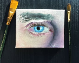 Oil painting blue eye on canvas