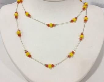 Spacer Necklace Yellow & Orange