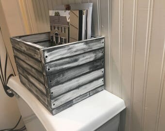 Rustic Wooden Crate and Magazine Holder