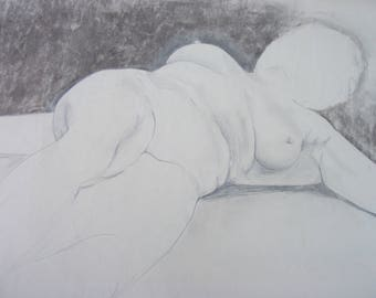 Life drawing woman reclining - pencil on paper 70x50cm - artist Claire Kay