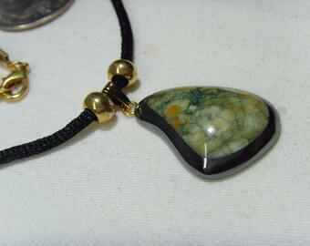Gem Art Picasso Moss Jasper Hematite pendant necklace