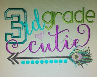 Personalized Back to School Feathers Cutie ANY GRADE Shirt