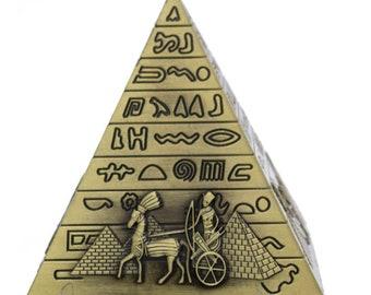 Egyptian Pyramids Metal Figurine Pyramid Building Statue Home Office Desktop Decor Gift Souvenir (Bronze)