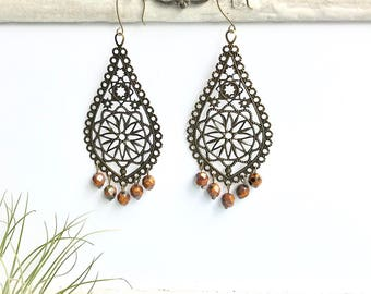 Chandelier Baroque Filigree drop earrings antique brass and Czech beads, rust orange  drop earrings, antique