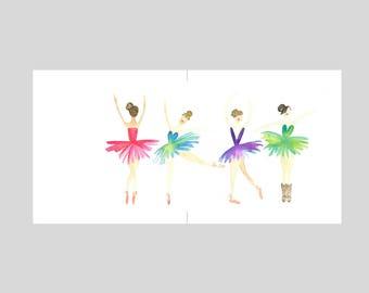 Card -  Four Ballerinas