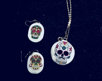 Day of the Dead Necklace and Earring Set