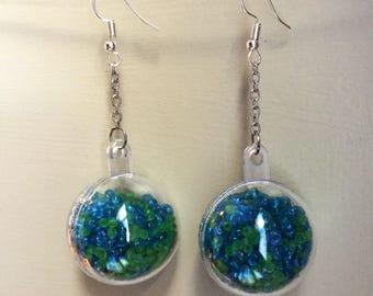 BUBBLE EARRINGS- blue and green globe