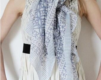 Grisette Handmade Grey Cotton Block Print Scarf Sarong