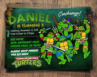 TMNT Birthday Party, Cartoon, Personalized, Printable, Chalkboard, Digital File, Teenage Mutant Ninja Turtles Invitation, TMNT Invitation,