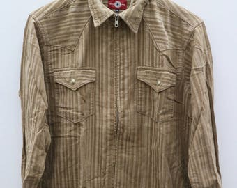 CONVERSE All Star Streetwear Casual Brown Vintage Buttondown Shirt Size M