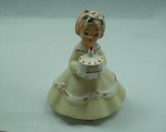 Vintage Happy Birthday Girl Figurine with Birthday Cake Yellow Dress Pink flowers