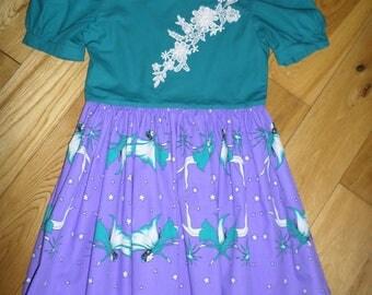 Handmade 100% cotton girls dress Age 7-8