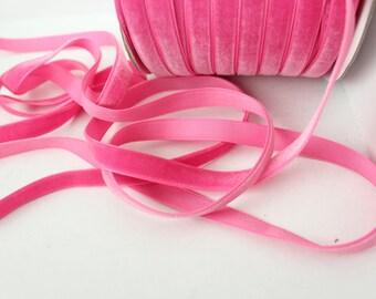 3/8 inch Bubblegum Pink Velveteen Ribbon by the Yard / 10 MM Velveteen Ribbon / Velvet / Bubblegum Pink / ER-V156