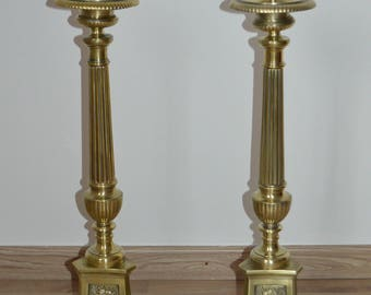Marvellous pair of antique English Victorian brass candlesticks/Candle Holders Candle Holder candlestick/Brass