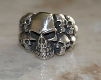 Skull Head Mens Biker Ring Sterling Silver 925 Oxidized  24+ Grams-Authentic gift for him