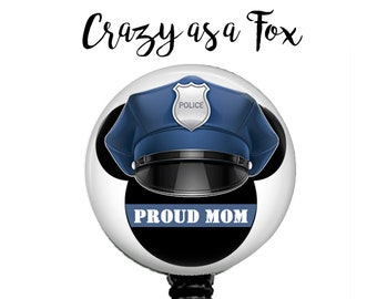 Mickey Mouse Proud Police Mom Retractable Badge Holder, Police TBL Badge Reel, Lanyard, Stethoscope ID Tag, Nurse, RN, Doctor, Teacher Gift
