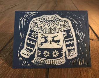 Ugly Holiday Sweater Lino Print Cards (set of 5)