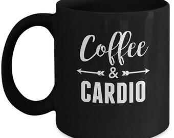 Coffee & Cardio - Cute High Quality Ceramic 11 oz or 15 oz Mug - Fitness Workout Weight Lifting Lift Cross Training WOD Partner Gift