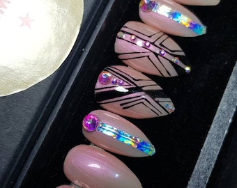 Nailed by posh: ready to ship hand painted gel holographic stiletto press on nails