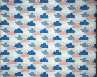 Reusable Cotton Beeswax Food Wrap Clouds Blue White Pink Grey Small 20cm x 20cm Eco Friendly Natural Living