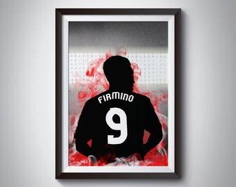 Roberto Firmino Football Print - Liverpool Poster - Football Poster - Wall Art Print- Framed Print - Minimalist Silhouette
