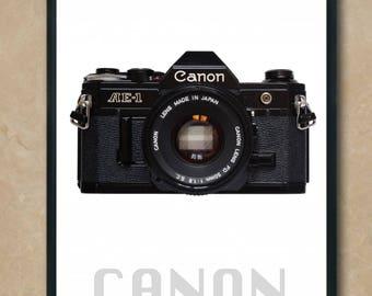 Original Camera Portrait Black Canon AE-1 Poster Quality Print