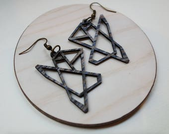 Wood earrings / ABSTRACT