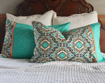 Teal and Grey Pillowcase set, teal and grey pillowcases, damask pillowcase, pillowcase set, handmade pillowcase, pillowcase,