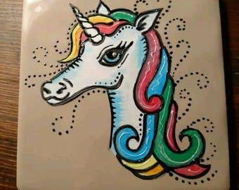 Handpainted unicorn tile / coaster